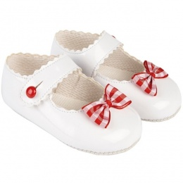 Baby Girls White & Red Patent Gingham Bow Baypods Pram Shoes