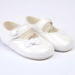 Baby Girls White Side Bow Patent Pram Shoes