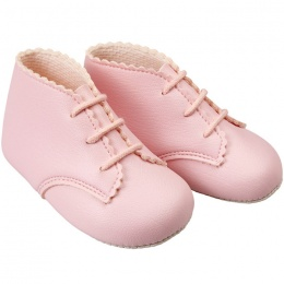 Baby Girls Pink Matt Lace Up Baypods Pram Boots