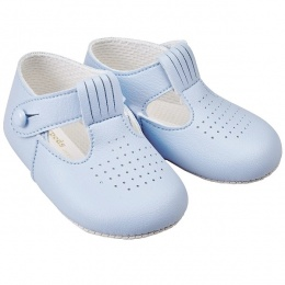 Baby Boys Sky Blue Matt T-bar Pram Shoes 'Baypods'