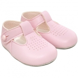 Baby Girls Pink Matt T-bar Pram Shoes