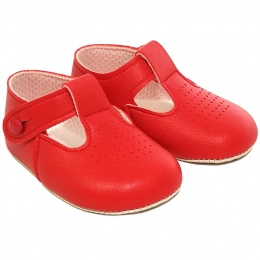 Baby Girls Red Matt T-bar Pram Shoes