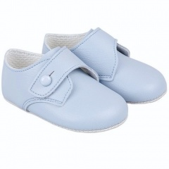 Baby Boys Sky Blue Matt Button Pram Shoes 'Baypods'