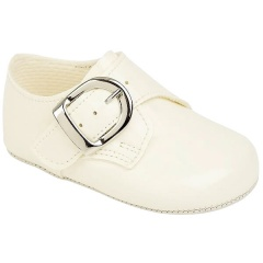 Baby Boys Ivory Patent Buckle Pram Shoes 'Baypods'