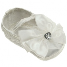 Baby Girls Ivory Sparkly Heart Bow Satin Pram Shoes