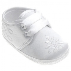 Baby Boys White Satin Scroll Embroidered Pram Shoes
