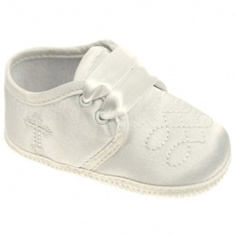 Baby Boys Ivory Satin Cross & Embroidered Pram Shoes