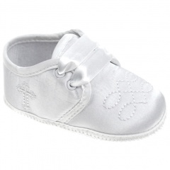 Baby Boys White Satin Cross & Embroidered Pram Shoes
