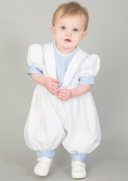 Baby Boys Diamond Blue & White Christening Romper & Hat