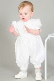 Baby Boys Diamond White Christening Romper & Hat