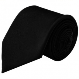 Boys Black Plain Satin Tie (45'')