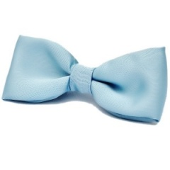 Boys Sky Blue Satin Plain Dickie Bow Tie on Elastic