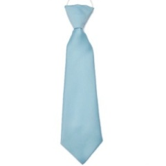 Boys Sky Blue Plain Satin Tie on Elastic