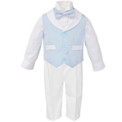 Baby Boys Blue & White Diamond 4 Piece Bow Tie Suit