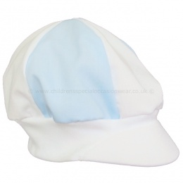 Baby Boys Sky Blue & White Poly Cotton Christening Cap