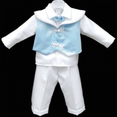 Baby Boys White & Blue Scroll 4 Piece Bow Tie Suit