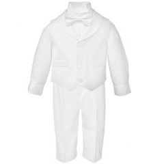 Baby Boys White Diamond 4 Piece Bow Tie Suit