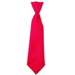 Boys Cerise / Hot Pink Plain Satin Tie on Elastic