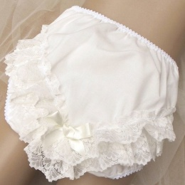 Baby Girls Ivory Bow Deep Frilly Lace Knickers