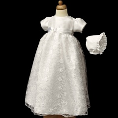 Baby Girls Ivory Diamante Lace Gown with Bonnet