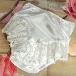 Baby Girls Ivory Bow & Lace Satin Knickers