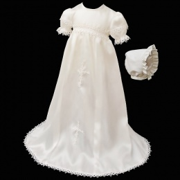Baby Girls Ivory Satin & Lace Cross Gown with Bonnet