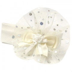 Baby Girls Ivory Large Organza & Sequin Bow Cotton Headband