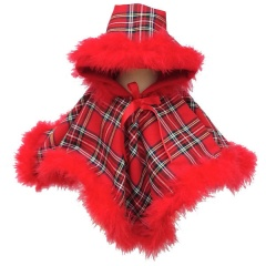 Baby Girls Red Tartan & Marabou Fur Poncho Cape