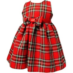 Baby Girls Red Tartan Sleeveless Bow Dress