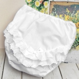 Baby Girls White Broderie Anglais Satin Bow Frilly Knickers