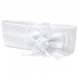 Baby Girls White Bow Daisy Trim Cotton Headband