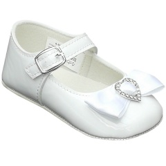Baby Girls White Patent Diamante Heart Bow Pram Shoes