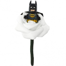 Boys White Rose Batman with Cape Buttonhole