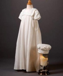 Baby Boys Millie Grace 'Ben' Linen Look Cotton Christening Gown & Hat