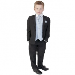 Boys Black & Blue 6 Piece Slim Fit Suit