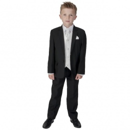 Boys Black & Ivory 6 Piece Slim Fit Suit