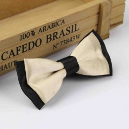 Boys Black & Champagne Satin Bow Tie with Adjustable Strap