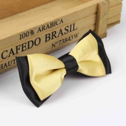Boys Black & Gold Satin Bow Tie with Adjustable Strap