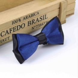 Boys Black & Navy Satin Bow Tie with Adjustable Strap