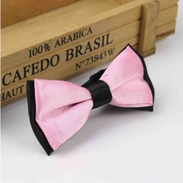 Boys Black & Pink Satin Bow Tie with Adjustable Strap