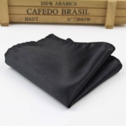 Boys Black Satin Pocket Square Handkerchief