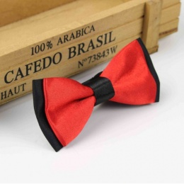Boys Black & Poppy Red Satin Bow Tie with Adjustable Strap