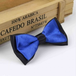 Boys Black & Royal Blue Satin Bow Tie with Adjustable Strap
