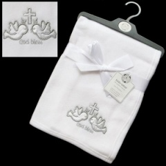 White God Bless Baby Christening Blanket with Cross & Doves