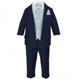 Boys Navy & Blue Swirl 6 Piece Slim Fit Suit