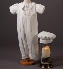 Millie Grace Bobbie Ivory Cotton Christening Romper & Hat