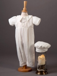 Baby Boys Ivory Cotton Romper & Hat - Bobbie by Millie Grace