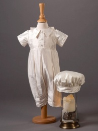Baby Boys Ivory Silk Romper & Hat - Bobbie by Millie Grace