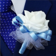 Boys Sky Blue Mini Bouquet Style Rose Buttonhole
