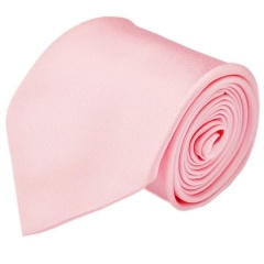 Boys Baby Pink Plain Satin Tie (45'')